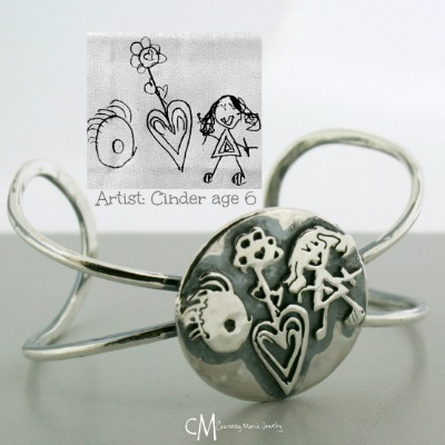Silver Cuff Child Artwork Bracelet