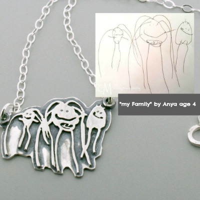 Organic Shape Child Artwork Necklace