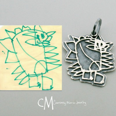 Organic Shape Child Artwork Pendant
