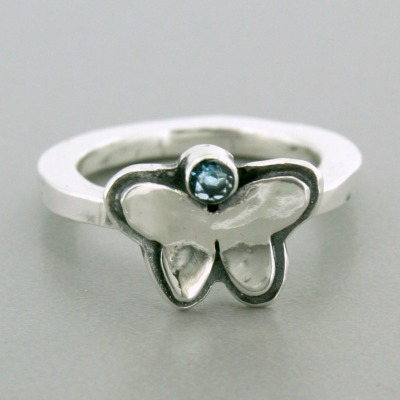 Small Butterfly Birthstone Mommy Stacker
