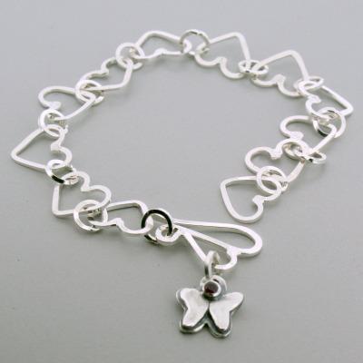Small Butterfly Birthstone Heart Bracelet